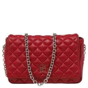 CH Carolina Herrera Red Quilted Leather Flap Crossbody Bag