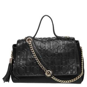 CH Carolina Herrera Black Monogram Leather Flap Top Handle Bag