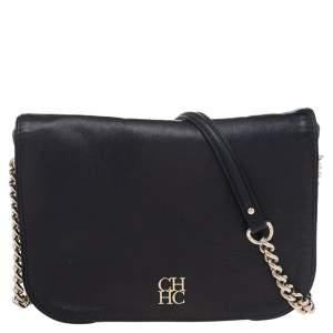 CH Carolina Herrera Black Leather Flap Shoulder Bag