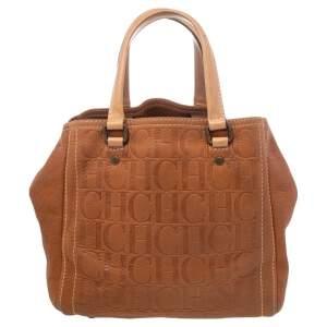 Carolina Herrera Brown Monogram Leather Andy Tote Bag