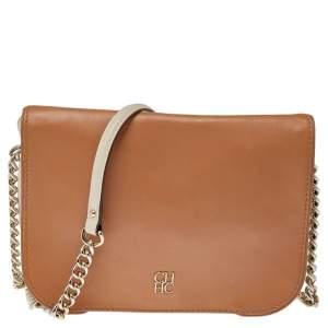 CH Carolina Herrera Beige/Cream Leather New Baltazar Flap Shoulder Bag