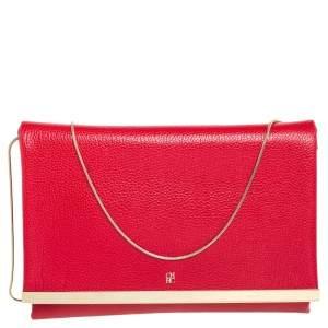 Carolina Herrera Red Leather Flap Clutch
