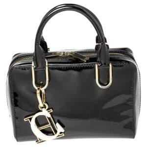 Carolina Herrera Black Patent Leather Micro Logo Charm Satchel