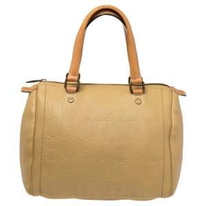 CH Carolina Herrera Beige Embossed Leather Andy Boston Bag