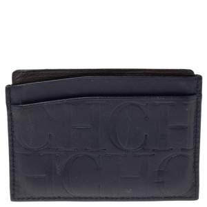 CH Carolina Herrera Navy Blue Monogram Leather Card Holder