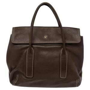 CH Carolina Herrera Brown Pebbled Leather Flap Satchel