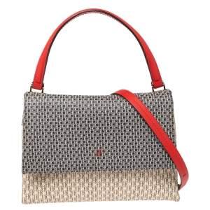 CH Carolina Herrera Multicolor Monogram Coated Canvas Leather Flap Top Handle Bag