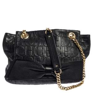 CH Carolina Herrera Black Monogram Leather Audrey Shoulder Bag