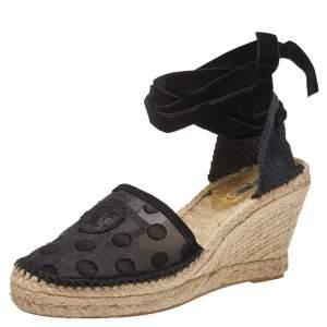 Carolina Herrera Black Mesh and Fabric Ankle Wrap Espadrille Sandals Size 40
