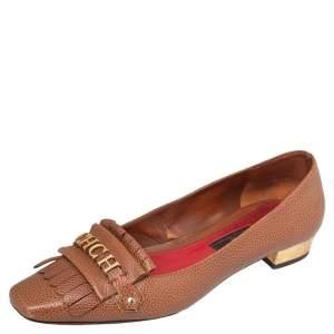 CH Carolina Herrera Brown Logo Embellished Fringe Detail Loafers Size 41