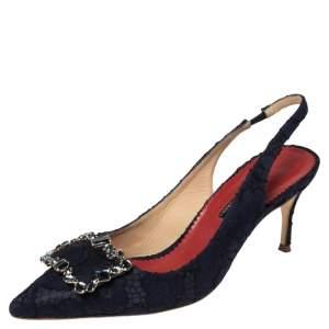 CH Carolina Herrera Blue Lace Embellished Slingback Sandals Size 39