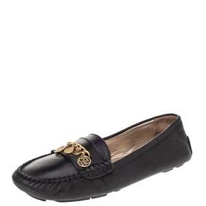CH Carolina Herrera Black Leather Logo Charm Detail Slip On Loafers Size 41