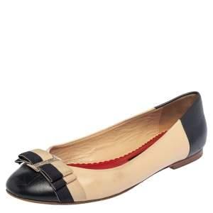 CH Carolina Herrera Multicolor Leather Bow Ballet Flats Size 37