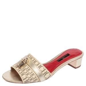CH Carolina Herrera Beige Monogram Leather Traveller Locked Slide Sandals Size 39