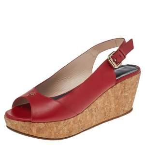 CH Carolina Herrera Red Leather Cork Wedge Platform Peep Toe Slingback Sandals Size 37