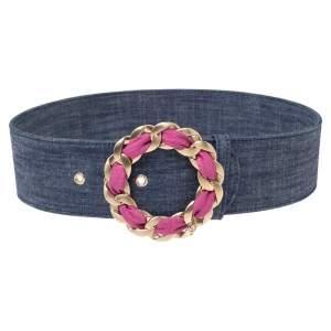 Chanel Blue Denim Chain Buckle Belt 80CM