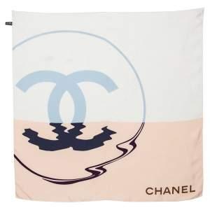 Chanel  Multicolor CC Printed Silk Square Scarf
