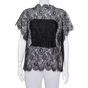 Chanel Black Lace Scallop Detail Top M