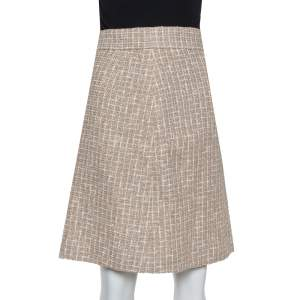 Chanel Cream Tweed A-Line Skirt M