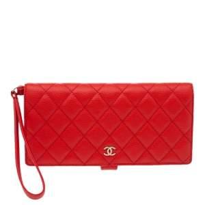 Chanel Orange Quilted Caviar Leather Zip Around Wallet Organizer