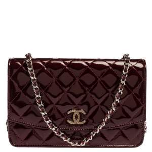 Chanel Burgundy Quilted Patent Leather Brilliant Wallet On Chain