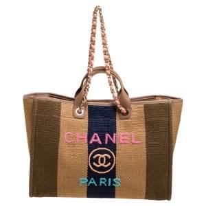 Chanel Multicolor Striped Straw Raffia Large Deauville Shopping Tote