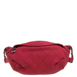 Chanel Pink Quilted Leather Zip and Carry Waist Bag