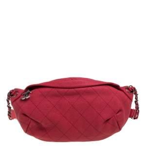 حقيبة خصر شانيل كاري وسحاب جلد مبطنة وردية