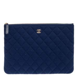 Chanel Blue Quilted Fabric O Case Clutch