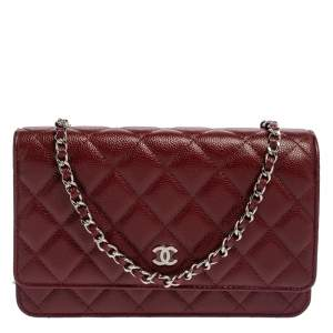 Chanel Red Quilted Caviar Leather Classic Wallet on Chain