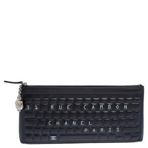 Chanel Black Leather Keyboard Clutch