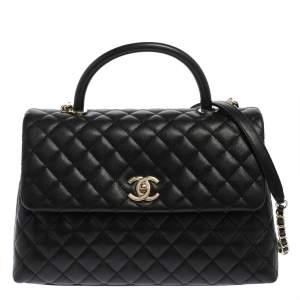 Chanel Black Caviar Leather Maxi Coco Top Handle Bag