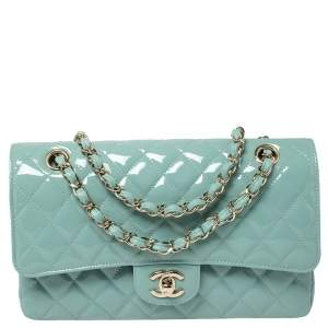 Chanel Mint Green Quilted Patent Leather Medium Classic Double Flap Bag