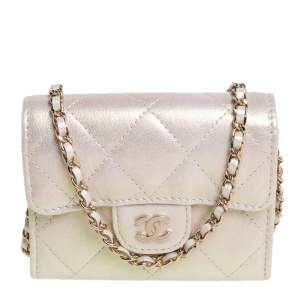 Chanel Metallic White Leather Card Holder with Chain