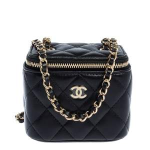 Chanel Black Quilted Leather Small Vanity with Chain