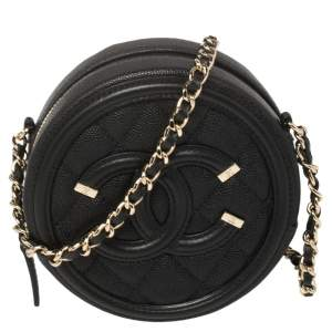 Chanel Black Quilted Caviar Leather Round CC Filigree Crossbody Bag