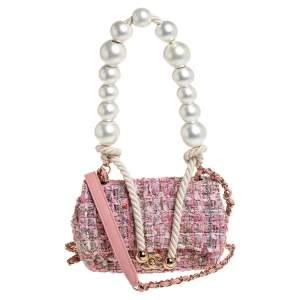 Chanel Pink Tweed Small Pearl Handle Flap Bag