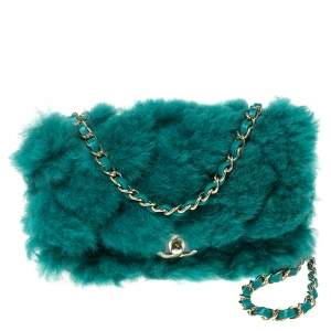 Chanel Green Shearling Fur and Leather New Mini Classic Flap Bag