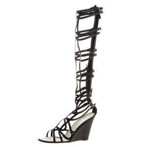 Chanel Black Leather Open Toe Gladiator Wedge Sandals Size 40.5