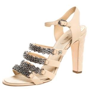 Chanel Beige Leather Reissue Chain Detail Quilted Heel Ankle Strap Sandals Size 41