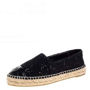 Chanel Black Tweed Sequin Embellished CC Cap Toe Espadrille Flats Size 37