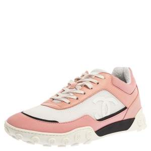 Chanel Pink/White Satin, Mesh and Leather CC Sneakers Size 38.5