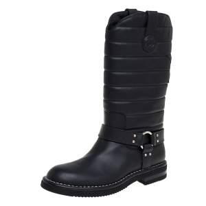 بوت شانيل لمنتصف الساق CC جلد أسود مقاس 39