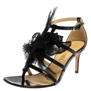 Chanel Black Patent Leather And Mesh Camellia Ankle Strap Sandals Size 37