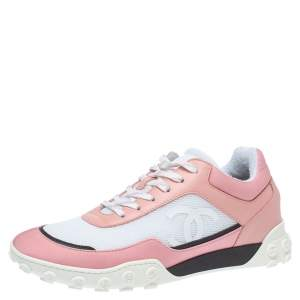 Chanel Pink/White Mesh And Leather Low Top Sneakers size 38.5