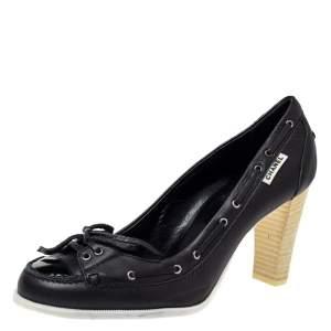 Chanel Black Leather Loafer Block Heel Pumps Size 37