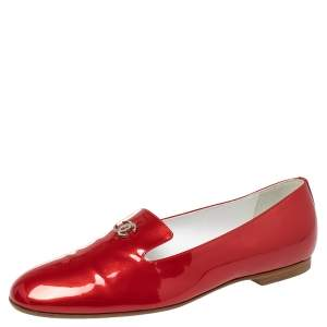 Chanel Red Patent Leather Crystal CC Slip On Loafers Size 39.5