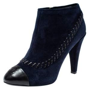Chanel  Blue Suede And Leather CC Ankle Boots Size 40.5