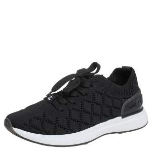 Chanel Black Mesh And Knit Fabric CC Sneakers Size 38