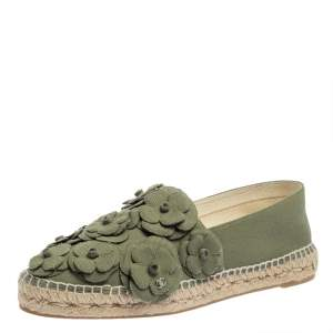 Chanel Olive Green Canvas Camellia Flat Espadrilles Size 42